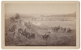 CABINET CARD PHOTO – PORTION OF THE GETTYSBURG CYCLORAMA WHILE ON EXHIBIT IN BOSTON; UNION ARTILLERY RESERVES MOVING TOWARDS THE HIGH WATER WARK