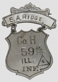 POST-CIVIL WAR LADDER BADGE OF ILLINOIS SOLDIER S.A. RIDGE, 59TH ILL. VOLS.