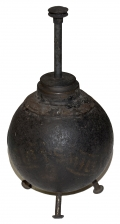 CS 3.67 INCH 6 LB. SPHERICAL SHELL RECOVERED ON CULPS HILL AND CONVERTED INTO AN OIL LAMP, FROM THE DANNER MUSEUM COLLECTION
