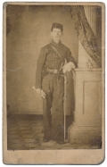 FULL STANDING CDV OF TRIPLE ARMED 15TH PENNSYLVANIA CAVALRY TROOPER