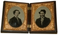 DOUBLE QUARTER PLATE UNION CASE WITH RUBY AMBROTYPE IMAGES