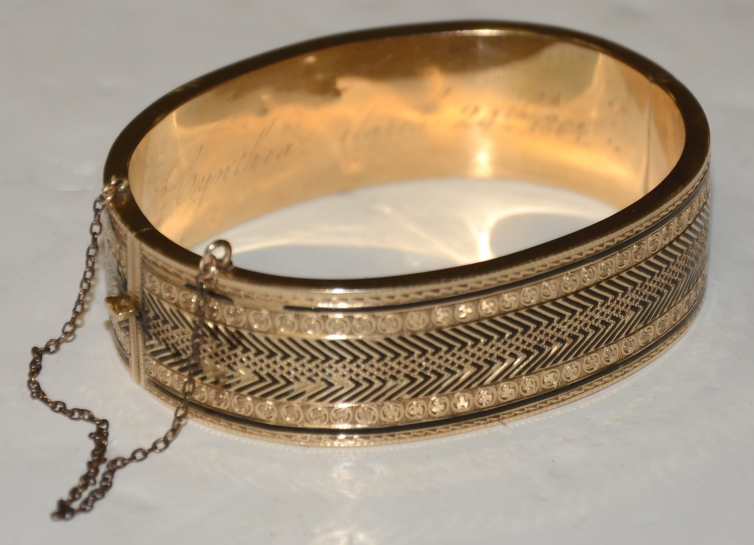 CIVIL WAR ERA LADIES GOLD BANGLE BRACELET WITH ENGRAVED INSCRIPTION