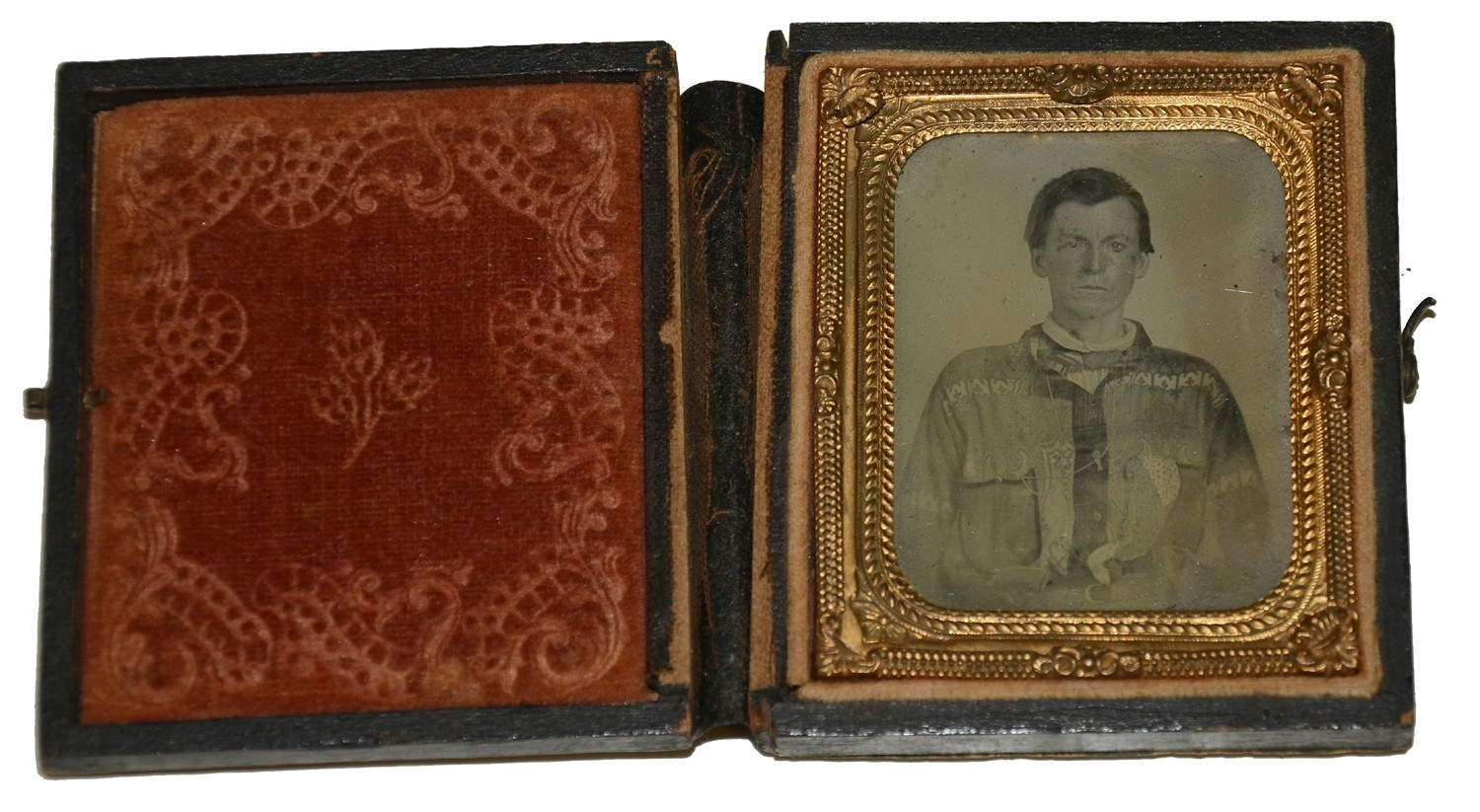 NINTH PLATE AMBROTYPE OF A YOUNG MAN – COWBOY OR A REBEL?