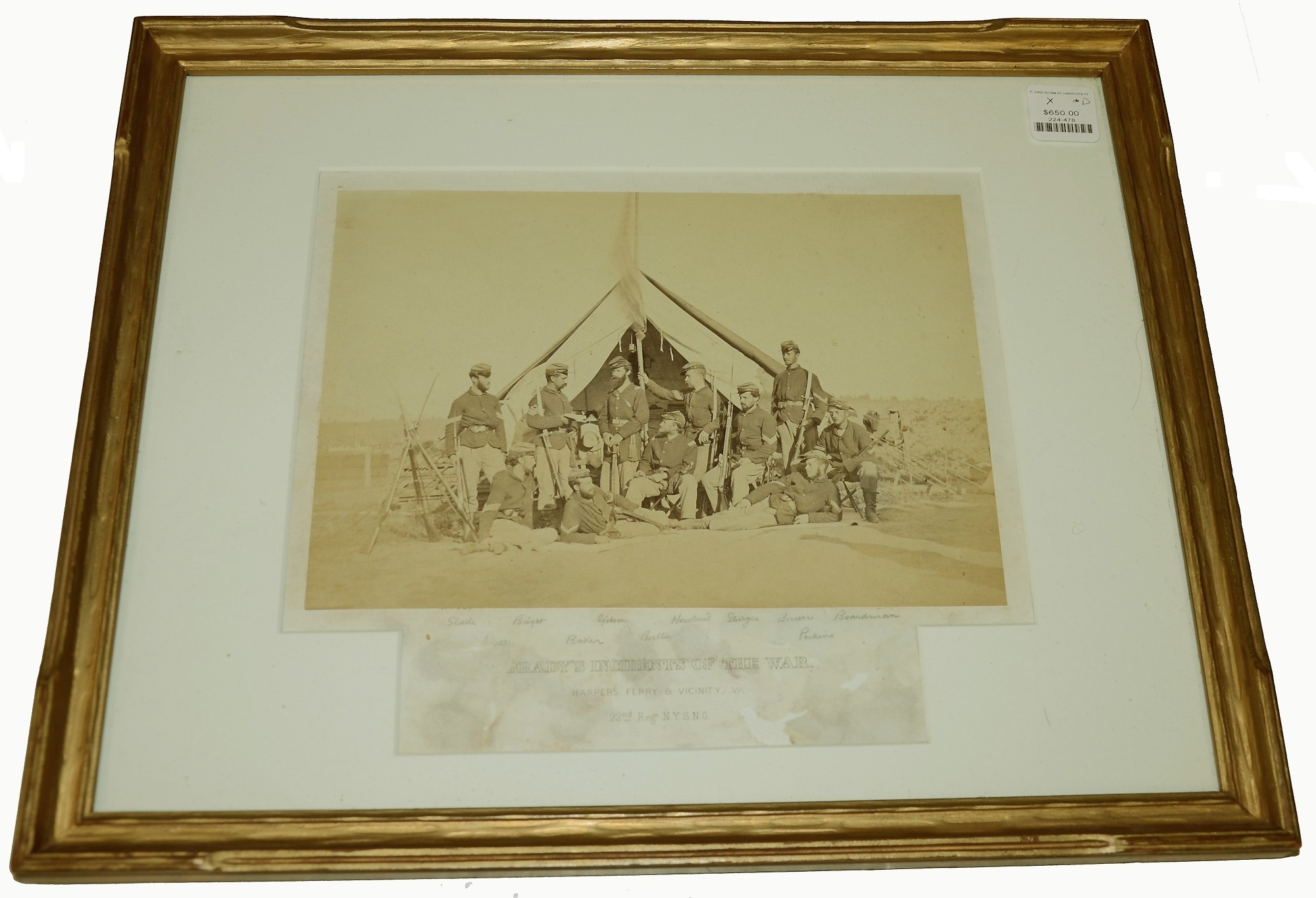 FRAMED & IDENTIFIED BRADY ALBUMEN OF 22ND NEW YORK NATIONAL GUARD