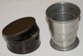 PEWTER COLLAPSIBLE CUP, IN JAPPANED TIN CASE, ca. 1850s-60s
