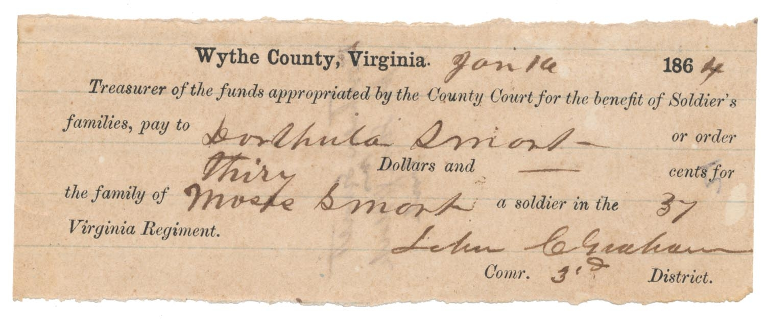 CONFEDERATE RECEIPT FOR FUNDS PAID TO 51ST VIRGINIA SOLDIER'S FAMILY