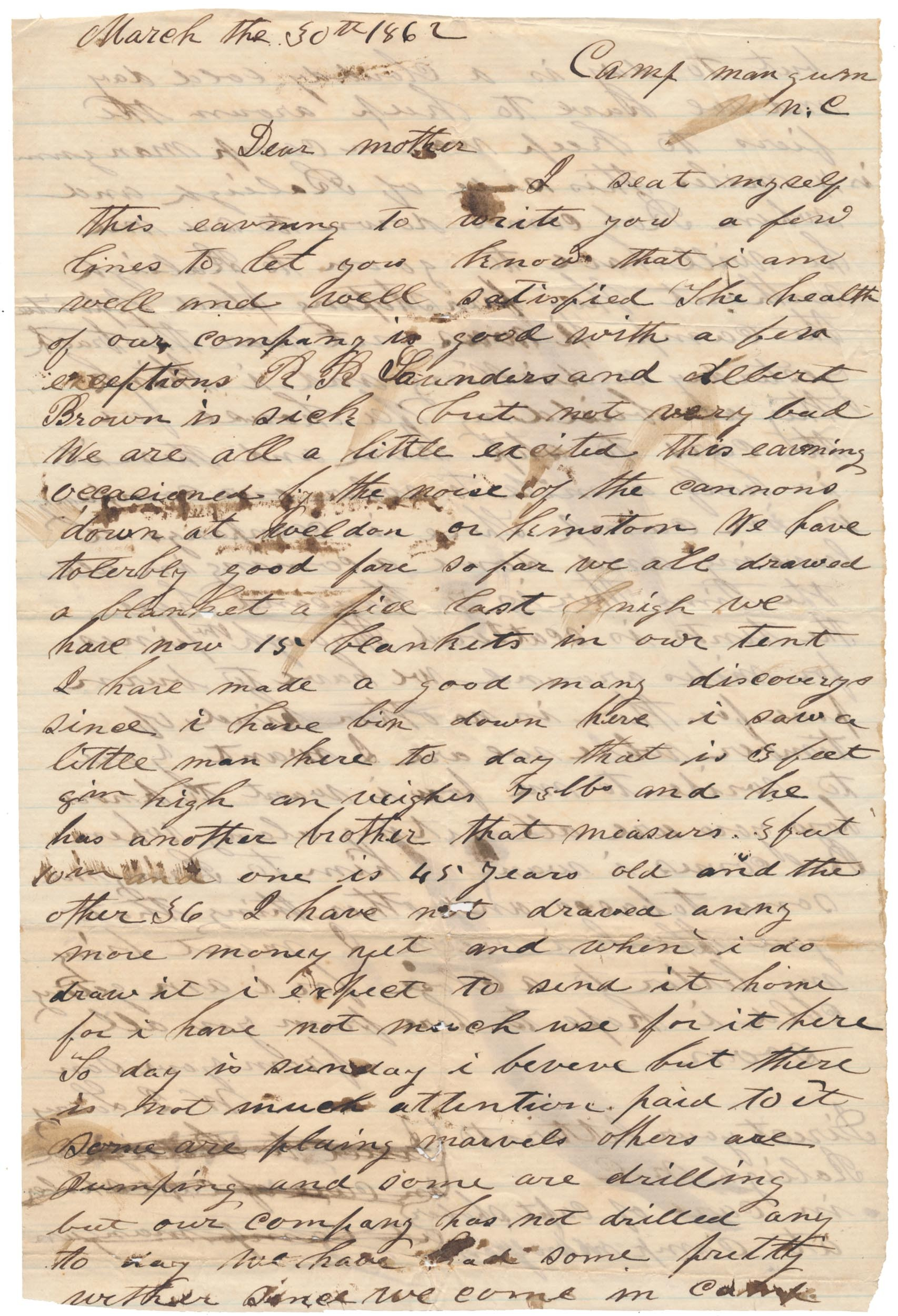 1862 45TH NORTH CAROLINA SOLDIER LETTER – PVT. WILLIAM J. LOWRY; KILLED AT GETTYSBURG ON JULY 2ND 1863!