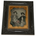 FRAMED QUARTERPLATE AMBROTYPE OF TWO FRIENDS SMOKING CIGARS