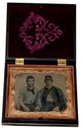 "GREAT 1/6 PLATE TINTYPE IMAGE TINTED VIEW OF TWO FEDERAL SOLDIERS IN A ""WASHINGTON MEDALLION"" UNION CASE"