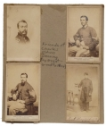 CHARLES E. DEARING 16th MAINE ALBUM PAGE: SERGT. MAJ. MANLEY, CAPTURED AT GETTYSBURG, AND TWO OTHERS, ONE PERHAPS DEARING HIMSELF