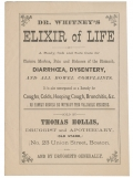 "APOTHECARY ADVERTISING BROADSIDE - ""DR. WHITNEY'S ELIXIR OF LIFE"""