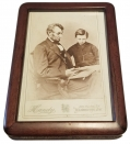 FRAMED CABINET CARD PHOTO OF LINCOLN WITH TAD BY WASHINGTON PHOTOGRAPHER HANDY