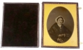 "FULL PLATE AMBROTYPE OF AN OLDER WOMAN IN DOUBLE VIEW CASE - MAT MARKED ""BRADY"""