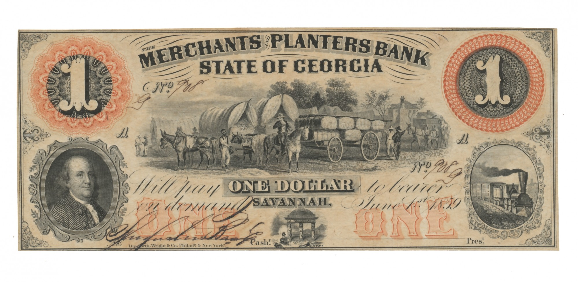 1859 GEORGA $1 NOTE FEATURING WAGONS & BEN FRANKLIN