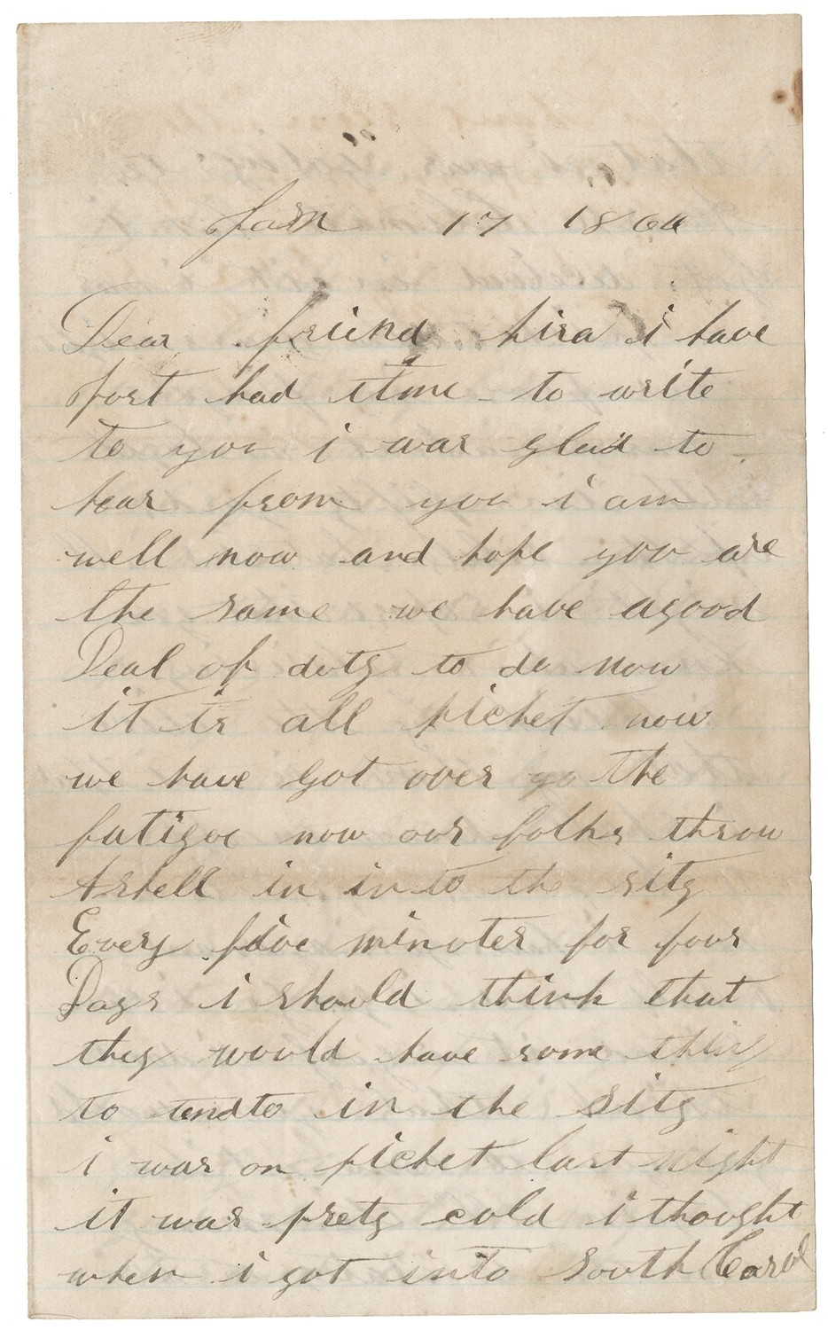 CIVIL WAR SOLDIER LETTER – PARLEY S. YOUNG, 4TH NEW  HAMPSHIRE INFANTRY; DIED OF WOUNDS IN NOVEMBER 1/864