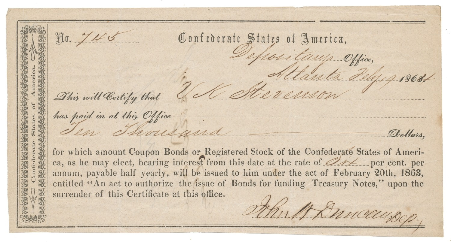 PAIR OF 1864 CONFEDERATE STOCK DOCUMENTS FROM ATLANTA SIGNED BY SOUTHERN RAILROAD TYCOON