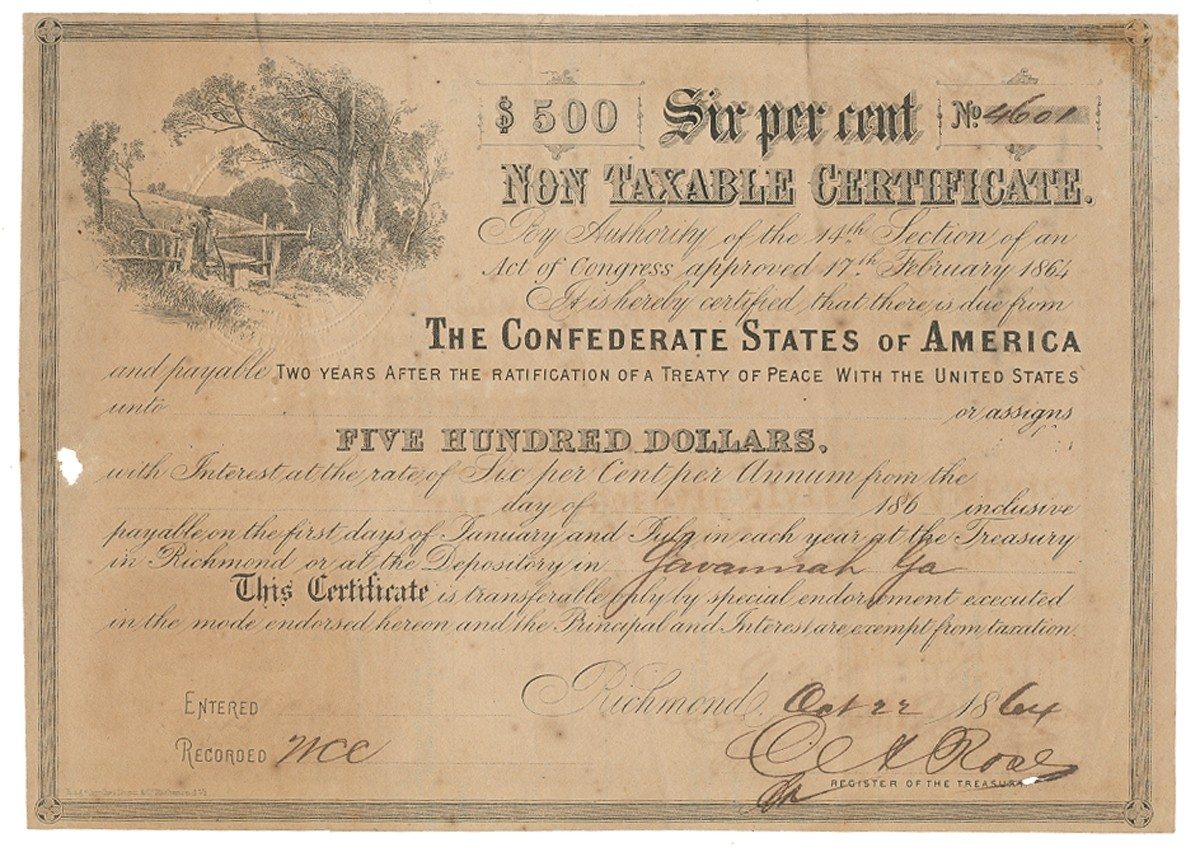 CONFEDERATE STATES OF AMERICA $500 NON TAXABLE DOCUMENT