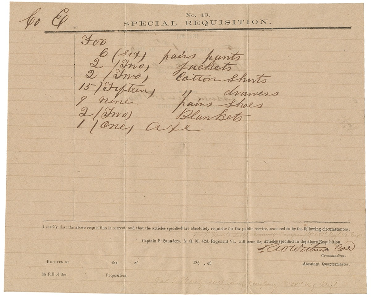 1864 CONFEDERATE CLOTHING DOCUMENT FOR COMPANY E, 42ND VIRGINIA INFANTRY – SIGNED BY GETTYSBURG CASUALTY