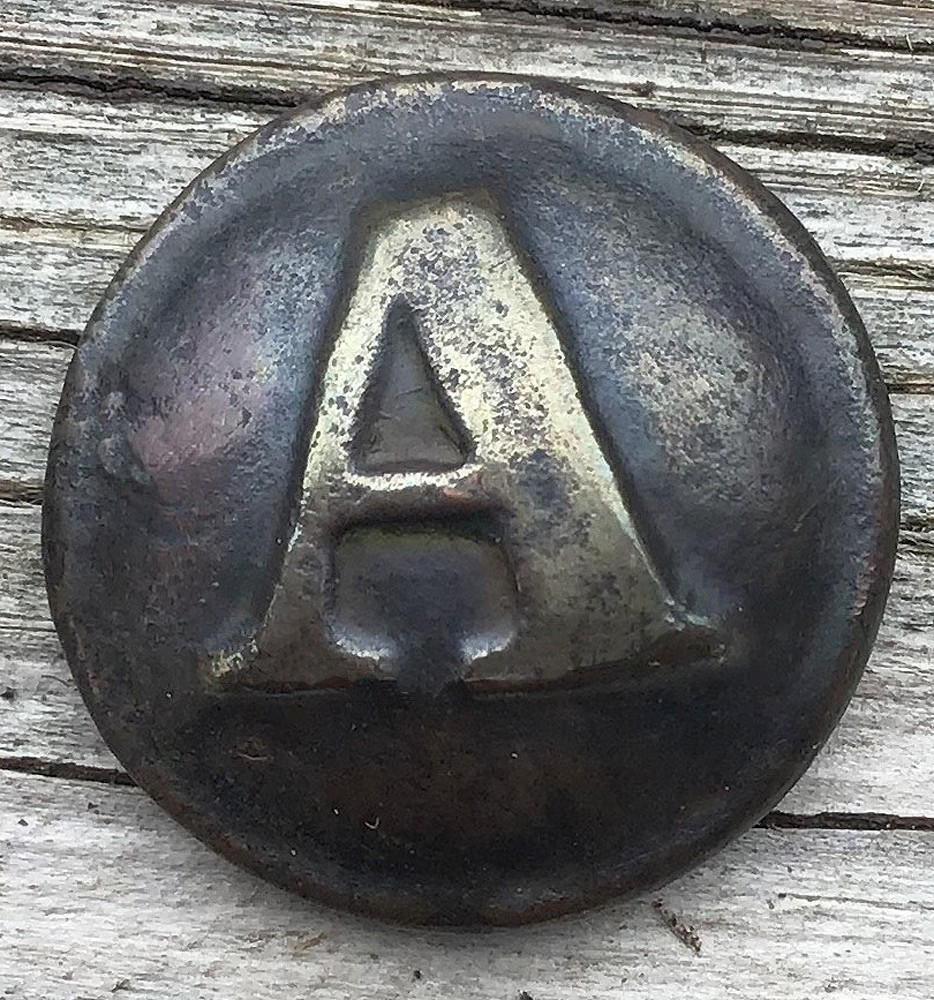 "CONFEDERATE LOCAL ARTILLERY ""A"" JACKET BUTTON FOUND AT GETTYSBURG"
