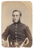 TRIMMED ALBUMEN PHOTO OF LIEUTENANT WITH UNUSUAL BELT BUCKLE