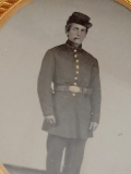 VERY NICE FULL STANDING AMBROTYPE OF A CIGAR SMOKING UNION SOLDIER