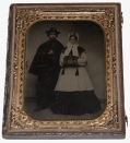 FULL STANDING QUARTER-PLATE TIN OF UNION SOLDIER AND WIFE