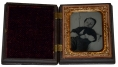 POSTMORTEM RUBY AMBROTYPE OF A CHILD IN A UNION CASE