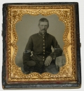 VERY NICE SIXTH PLATE TINTYPE OF A CIVIL WAR UNION INFANTRY CORPORAL
