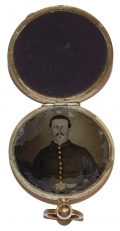 INSCRIBED LOCKET WITH TINTYPE OF FEDERAL SOLDIER