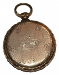 GOLD PLATED LOCKET WITH IMAGE OF SOLDIER AND WOMAN