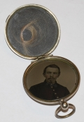 GOLD PLATED LOCKET WITH LOCK OF HAIR AND TINTYPE OF UNION SOLDIER