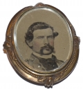 CIVIL WAR BROOCH WITH SOLDIER PHOTO AND LOCK OF HAIR