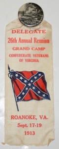 DELEGATE BADGE FOR THE CONFEDERATE VETERANS OF VIRGINIA 1913