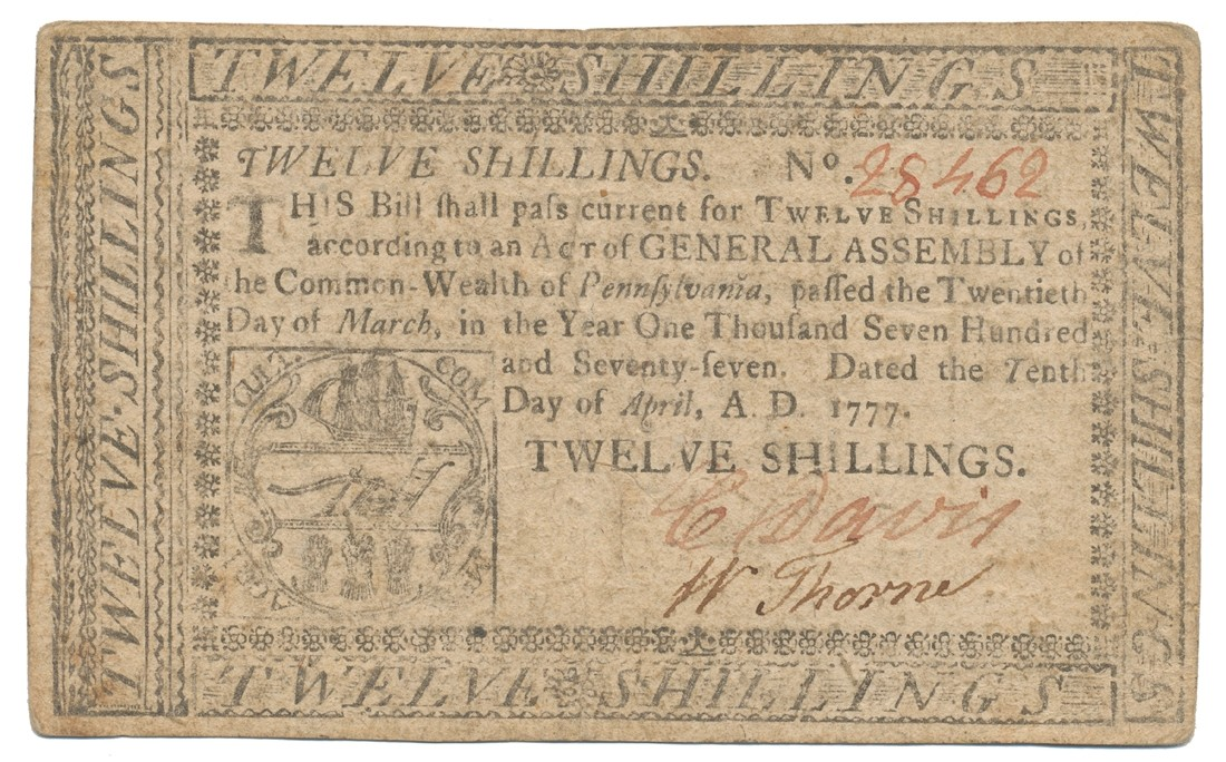 COLONIAL PENNSYLVANIA TWELVE SHILLING NOTE -- 1777