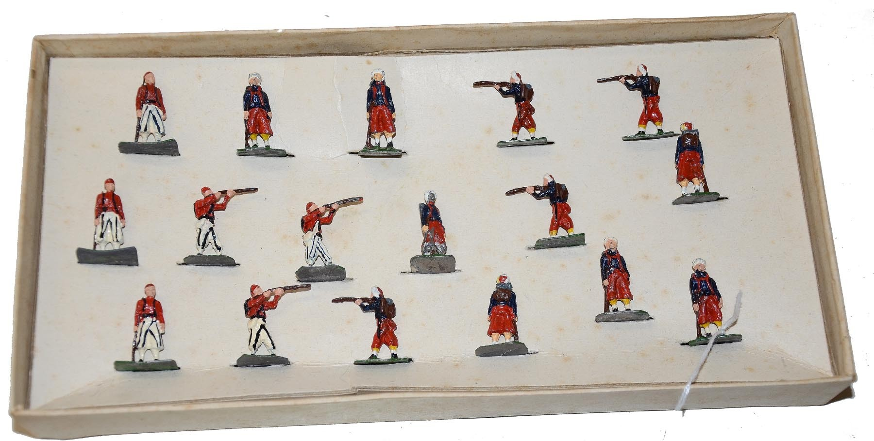 COMPLETE SET OF SAE HANDPAINTED FIGURES FROM THE 1950'S/60'S IN THE ORIGINAL BOX-UNION & CONFEDERATE ZOUAVES