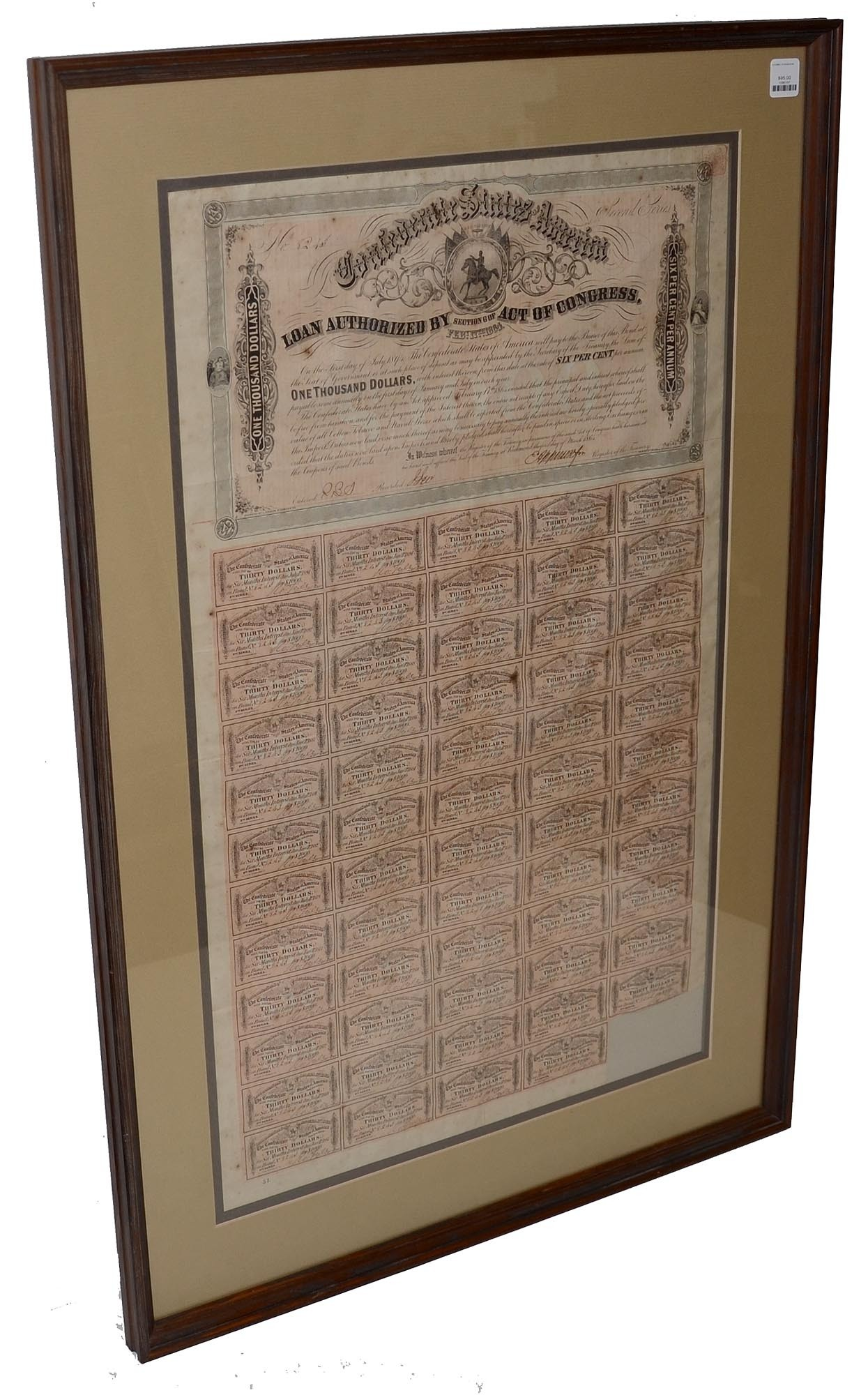FRAMED AND DOUBLE MATTED CONFEDERATE $1000 BOND