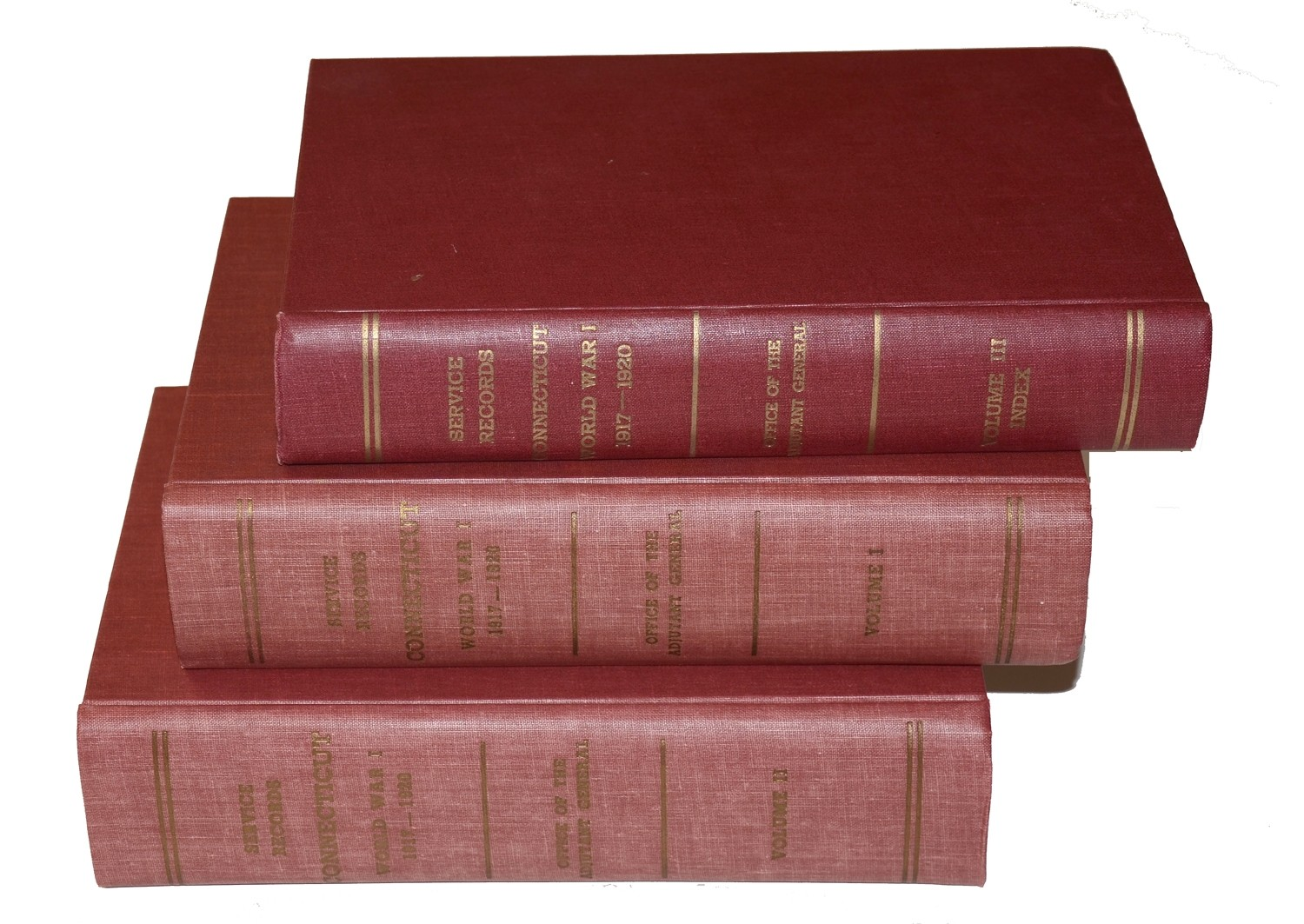 "3 VOLUME SET OF ""SERVICE RECORDS CONNECTICUT WORLD WAR I 1917-1920"""