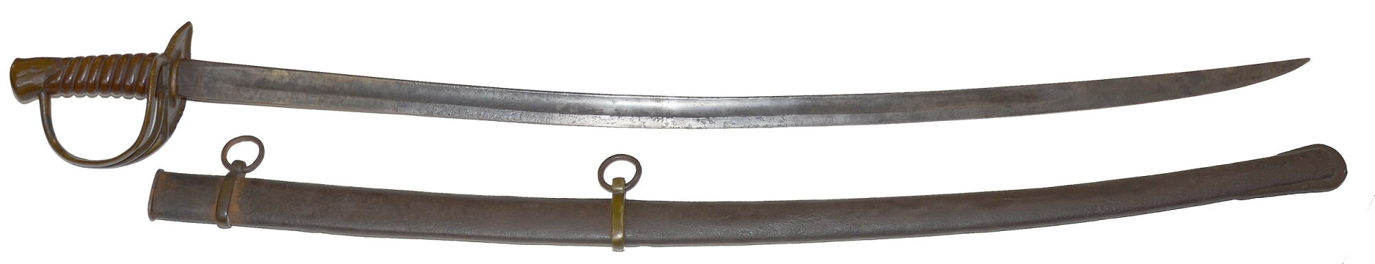 CONFEDERATE ENLISTED CAVALRY SABER WITH SCABBARD AND POLISHED WOOD GRIP BY FROELICH