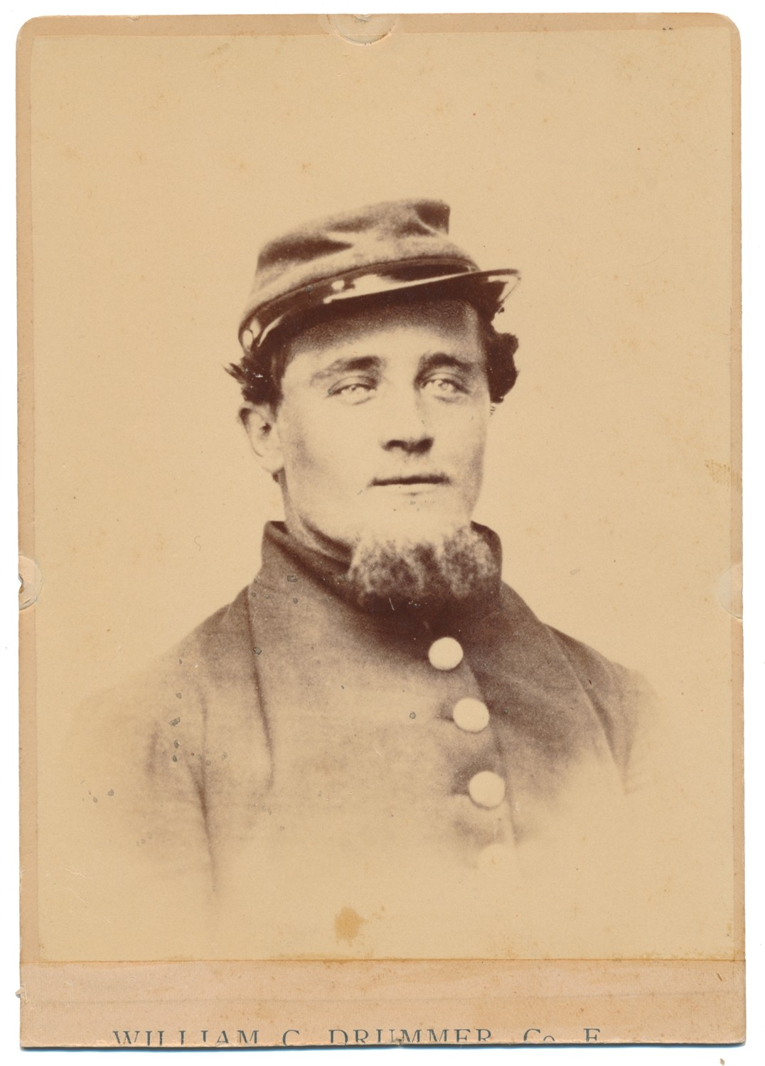 POST-WAR CABINET CARD PHOTOGRAPH OF WILLIAM C. DRUMMER OF THE 2nd NEW HAMPSHIRE WHO WENT MISSING IN ACTION JULY 2nd AT GETTYSBURG