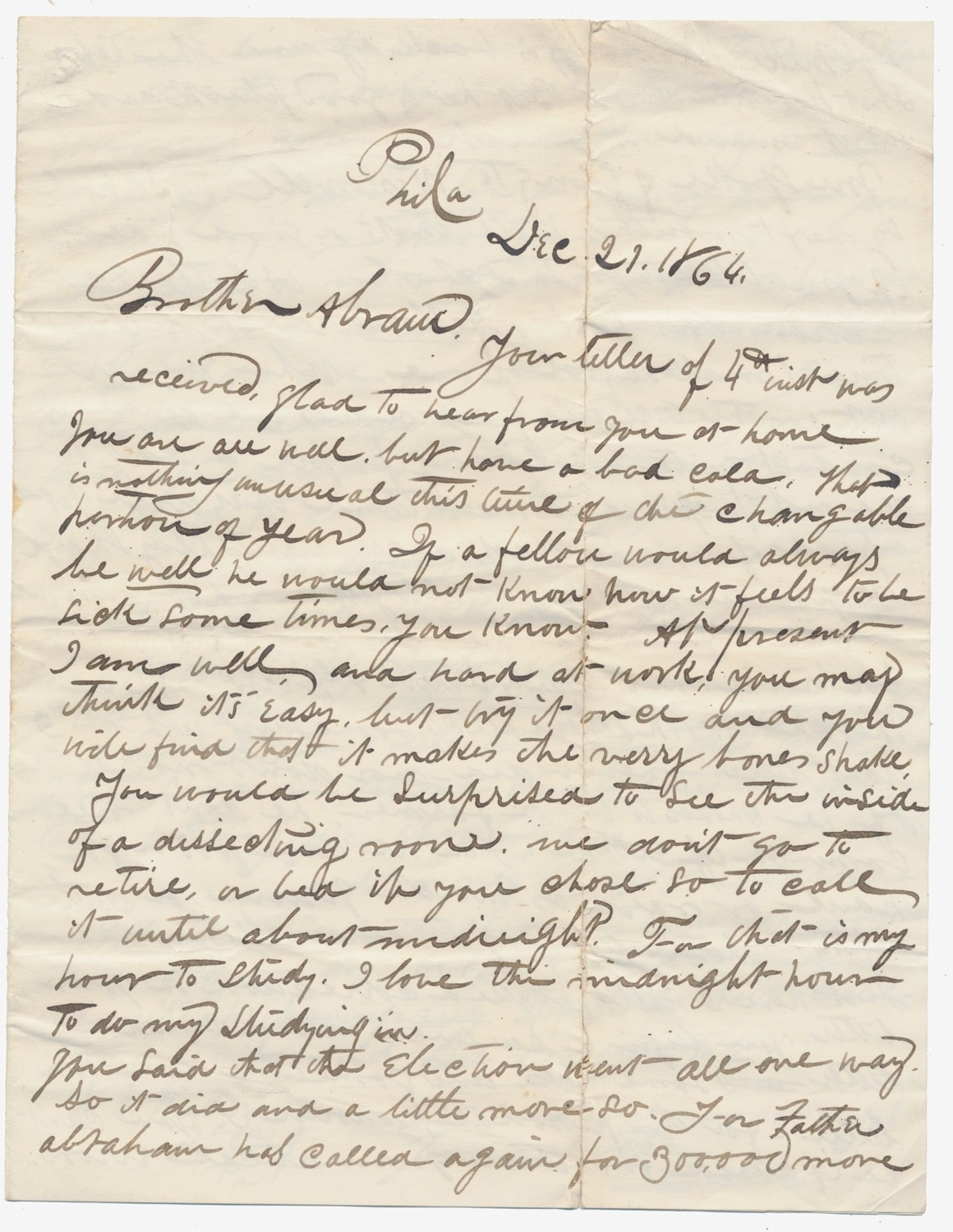 "LETTER MENTIONING 1864 ELECTION AND ""FATHER ABRAHAM"" CALLING FOR 300,000 MORE"