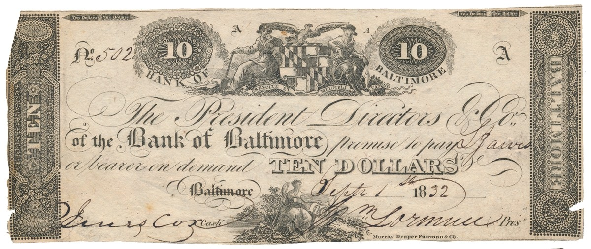 BANK OF BALTIMORE $10 NOTE DATED 1832