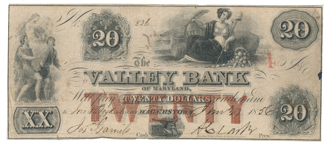 VALLEY BANK OF HAGERSTOWN, MARYLAND $20 NOTE DATED 1856