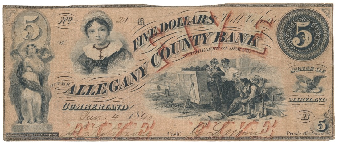 CUMBERLAND, MARYLAND $5 NOTE DATED 1860