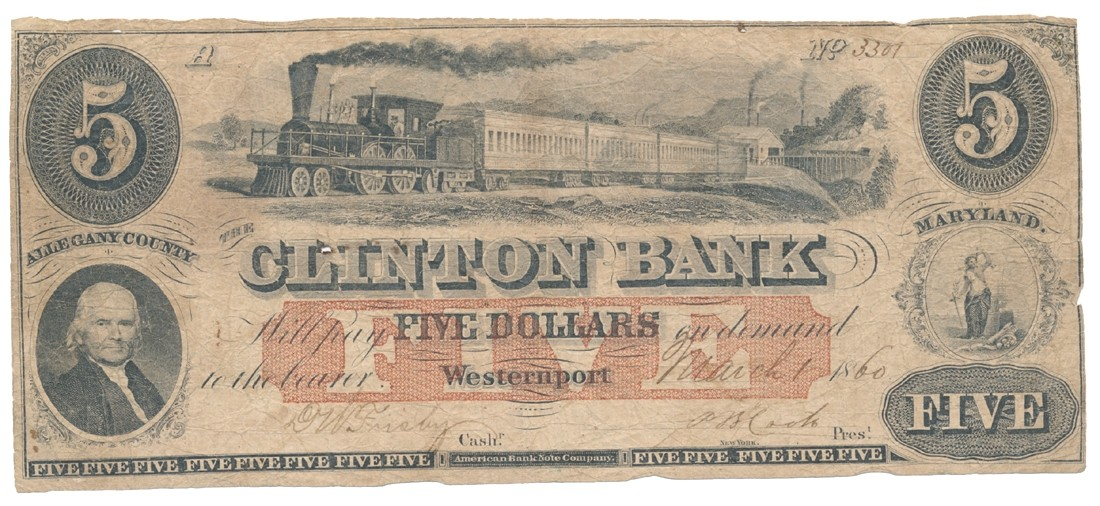WESTERNPORT, MARYLAND $5 NOTE DATED 1860