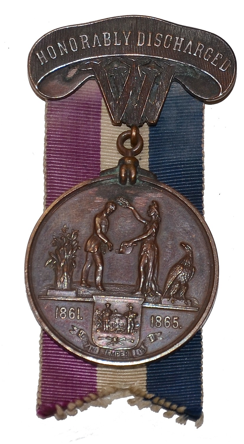 WEST VIRGINIA DISCHARGE MEDAL IDENTIFIED TO AN OFFICER WHO SERVED IN THREE REGIMENTS