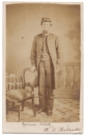 INK ID FULL STANDING VIEW OF 49TH PENNSYLVANIA OFFICER WOUNDED AT SPOTSYLVANIA