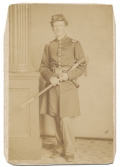 FULL STANDING VIEW OF 38TH MASSACHUSETTS OFFICER WOUNDED AT PORT HUDSON, WITH INK ID