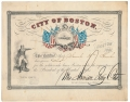 "COLORFUL CITY OF BOSTON DONATION RECEIPT, SIGNED BY THE AUTHOR OF ""THE BARCLAYS OF BOSTON"""