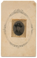 GEM SIZE TINTYPE IN CDV MOUNT OF UNKNOWN UNION ARTILLERYMAN