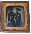 EXTRAORDINARY SIXTH PLATE AMBROTYPE OF COL. DAVID ADDISON WEISIGER, LATER BRIGADIER GENERAL C.S.A., WITH FELLOW VA MILITIA OFFICER AT CHARLESTOWN, VIRGINIA, FOR THE HANGING OF JOHN BROWN 1859